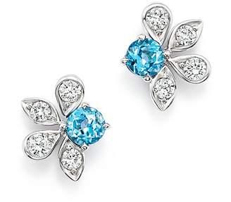 Bloomingdale's Diamond & Blue Topaz Leaf Stud Earrings in 14K White Gold - 100% Exclusive