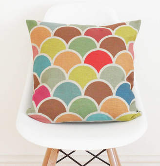 QuirkyBee Geometric Linen Scallop Cushion Cover