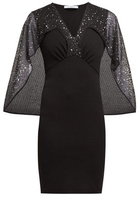 Givenchy Crystal Embellished Cape Mini Dress - Womens - Black Multi