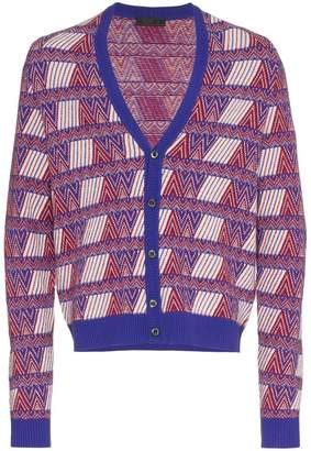 Prada cashmere blend patterned cardigan