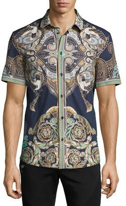 Versace Collection Baroque Short-Sleeve Sport Shirt, Navy $450 thestylecure.com