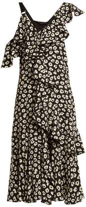 Proenza Schouler Floral Print Silk Crepe Midi Dress - Womens - Black Multi