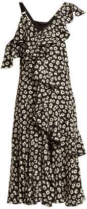 Proenza Schouler Floral Print Silk Crepe Midi Dress - Womens - Black Multi