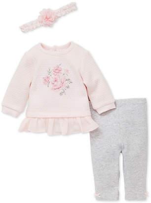 Little Me Baby Girls 3-Pc. Floral Sweatshirt, Leggings & Headband Set