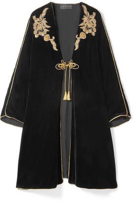 Dundas - Embellished Embroidered Velvet Kaftan - Black