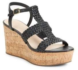 Kate Spade Tianna Woven Leather Cork Platform Wedge Sandals