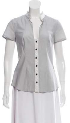 Zac Posen Short Sleeve Button-Up Top