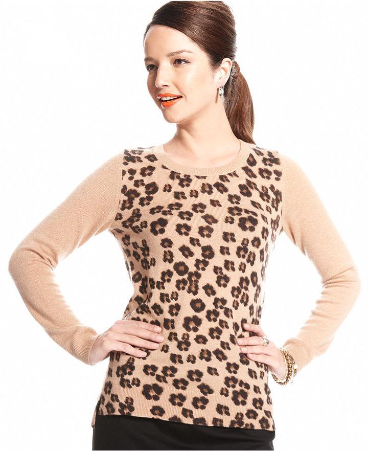 Charter Club Sweater, Long-Sleeve Animal-Print Cashmere
