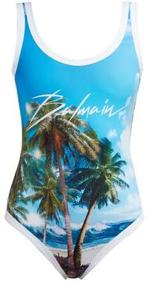 Balmain Logo And Palm Tree Print Swimsuit - Womens - Blue Multi