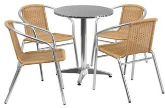 """Flash Furniture 23.5"""" Round Aluminum Indoor-Outdoor Table with 4 Rattan Chairs, Multiple Colors"""