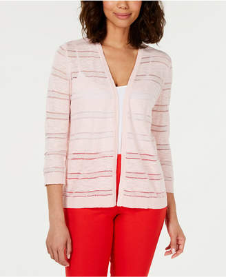 Charter Club Pointelle-Striped Cardigan