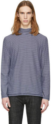 A.P.C. Navy and White Striped Cyril Turtleneck