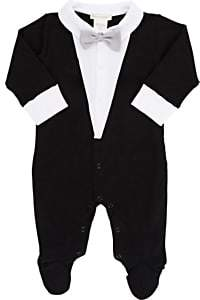 Lyda Baby Infants' Tuxedo Tails Footed Coverall-Black