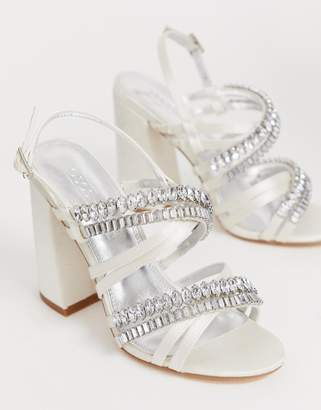 99577ed35bfb Asos Design DESIGN Honeymoon embellished block heeled sandals in ivory