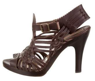 Michael Kors Leather Ankle Strap Sandals Brown Leather Ankle Strap Sandals