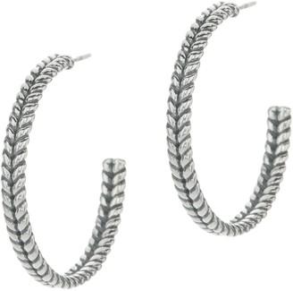 """Jai JAI Sterling Silver Basketweave 1 1/4"""" Hoop Earrings"""