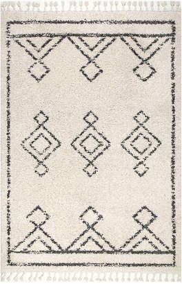 nuLoom Mackie Moroccan Diamond Tassel Shag Rug