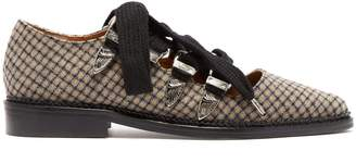 Toga Checked wool point-toe flats