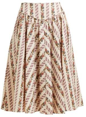 Batsheva Floral Print Cotton Skirt - Womens - Cream Multi