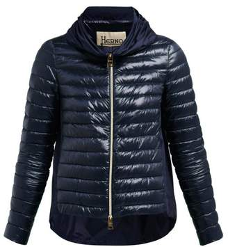 Herno Pleated Collar Quilted Down Jacket - Womens - Navy