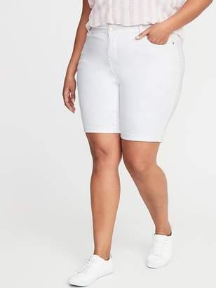 Old Navy Mid-Rise Secret-Slim Pockets Plus-Size White Denim Bermudas - 9-inch inseam