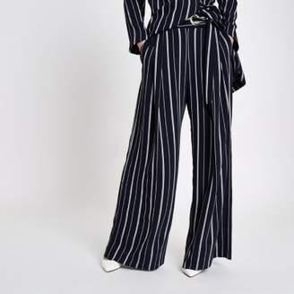 River Island Womens Navy stripe eyelet tie side wide leg pants