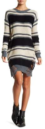 Solutions Distressed Stripe Sweater Dress