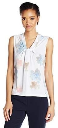 Calvin Klein Women's Matte Jersey Knot Neck Cami in Floral Print