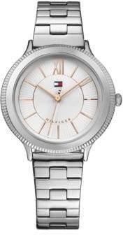 Tommy Hilfiger Silvertone Stainless Steel Analog Link Bracelet Watch