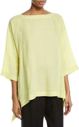 eskandar 3/4-Sleeve Cascading Sides Linen Tunic