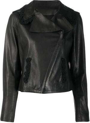 Chanel Pre-Owned off-centre front leather jacket