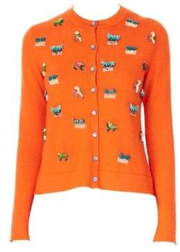 Carolina Herrera Animal-Embroidered Cashmere& Silk Knit Cardigan
