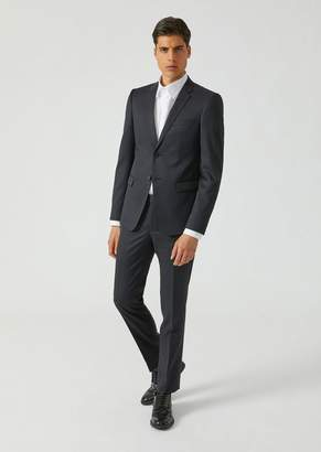 Emporio Armani Suit In Woven Wool With Single-Breasted Jacket And Cigarette Trousers
