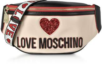 Love Moschino Ivory & Black Heart Belt bag