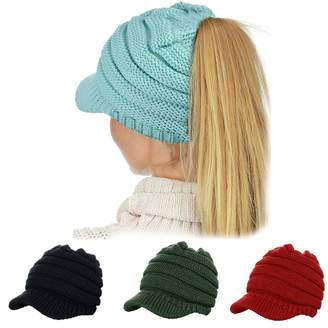 GRE1BEE Ponytail Beanie High Bun Hat Winter Messy Hats Tail Soft Stretch  Trendy for Women 71384557b0a9