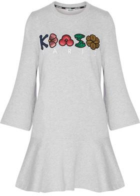 KENZO Glittered-Appliquéd Embroidered Cotton-Jersey Mini Dress $355 thestylecure.com