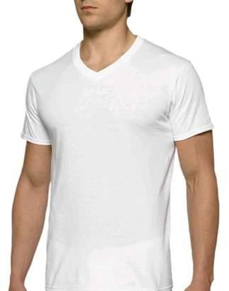 Gildan Mens Short Sleeve V-Neck White T-Shirt, 6-Pack