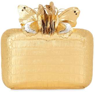Nancy Gonzalez Butterfly Box Caiman Clutch