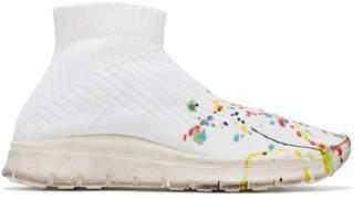 Maison Margiela Paint Splattered Knit Sock Trainers - Womens - White Multi