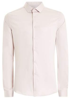 Topman Mens Purple Lilac Satin Stretch Long Sleeve Shirt