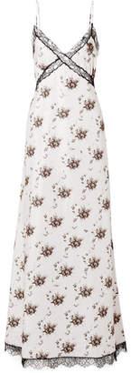 Brock Collection Onorina Lace-trimmed Floral-print Taffeta Maxi Dress - Light gray