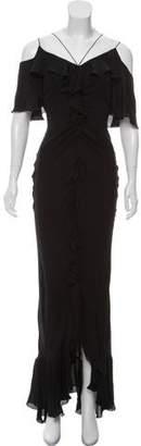 Emilio Pucci Cap Sleeve Ruffle Evening Dress