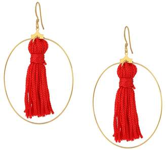 Kenneth Jay Lane Gold Hoop w/ Red Tassel Fishhook Earrings Earring