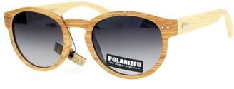 JuicyOrange Polarized Real Bamboo Sunglasses Designer Round Keyhole UV400 Light Wood