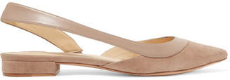 Alexandre Birman Wavee Leather-trimmed Suede Slingback Point-toe Flats - Taupe