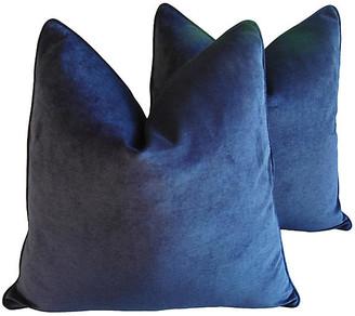 One Kings Lane Vintage Midnight Deep Blue Velvet Pillows - Set of 2