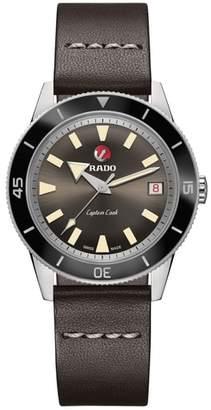 Rado HyperChrome Captain Cook Automatic Leather Strap Watch, 37.3mm