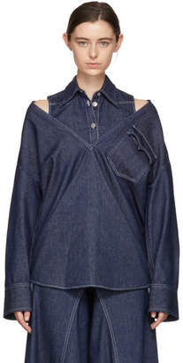 Maison Margiela Indigo Raw Denim Layered Shirt Dress