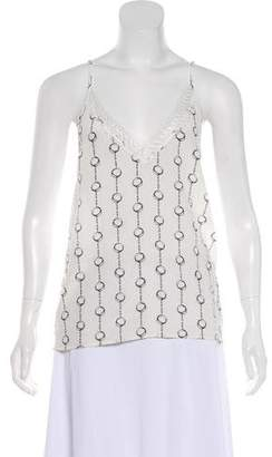 The Kooples Lace-Trimmed Printed Silk Camisole Top w/ Tags