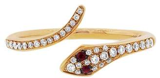 Ron Hami 14K Yellow Gold Diamond & Ruby Snake Bypass Ring - Size 7